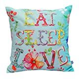 Air Castle- Home Decore- Polyester & Polyester Blend- Eat Sleep love Cushion Cover best price on Amazon @ Rs. 706