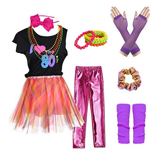Kostüm Rock Leopard Star - I Love 80s T-Shirt Rainbow Tutu Skirt Pop Party Rock Star Child Girl's Costume Accessories Fancy Outfits (7/8, Pink Leopard)