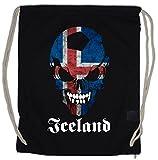 Urban Backwoods Black Classic Iceland Football Skull Flag Borsa da Palestra Sportiva Fußball Fan HooliganTotenkopf Schädel Banner Fahne Island Borsa da Palestra Sportiva