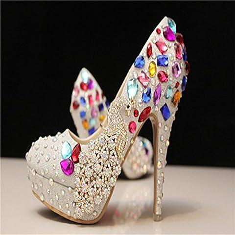 xieshijie-hlx strass Set manuale/femmina Phoenix/argento tacco alto piattaforma/colore/Cristalli Matrimoni Scarpe/scarpe, donna, bianco