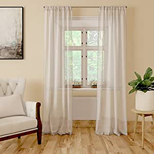 Encasa Homes Sheer Net Curtains (7 ft Long, Milky White) - Set of 2 pcs - Semi Transparent Voile Tissue Poly Fabric Panels, Room Decorative, See Through, Rod Pocket, Washable Furnishings