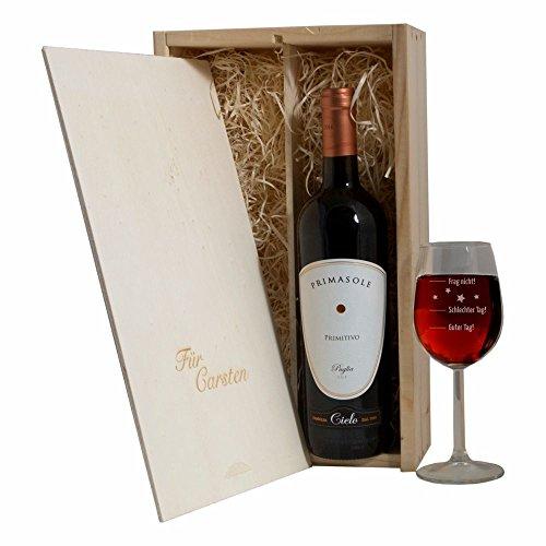 """Geschenkset PERSONALISIERT MIT NAMEN - Weinglas """"Guter Tag!, Schlechter Tag! - Frag nicht!"""", Geschenkbox mit Weinflasche Rotwein, Geschenkidee, Geburtstagsgeschenk, Weihnachtsgeschenk für Mann / Frau"""