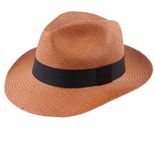 Classic Italy Authentique Chapeau Panama, tressage Traditionnel en Équateur Large Bord - 4 Coloris - Homme ou Femme Havana Fedora