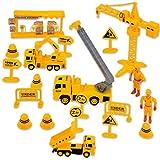 deAO Set de Construcción Conjunto Figuras de Albañil Camiones y Accesorios de Construcción Area en Obras Playset de 20 Piezas