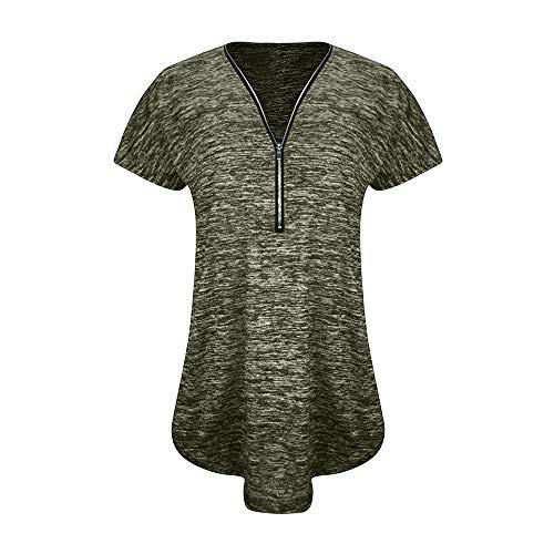 Womens Color Block V-Ausschnitt Langarm lose Button-Down-Bluse Tops gestreiften Tops Rundhalsausschnitt T-Shirts Knoten vorne Jumper lässig Tunika Tops Kurzarm grün 2XL -