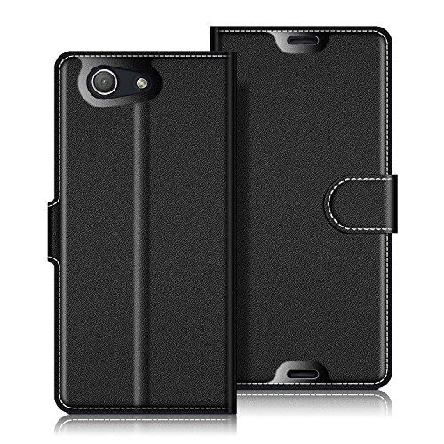Coodio Sony Xperia Z3 Compact Hülle Leder Lederhülle Ledertasche Wallet Handyhülle Tasche Schutzhülle mit Magnetverschluss / Kartenfächer für Sony Xperia Z3 Compact, Schwarz