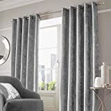"Sienna Crushed Velvet Eyelet Ring Top Pair of Fully Lined Curtains - Silver 90"" x 90"""