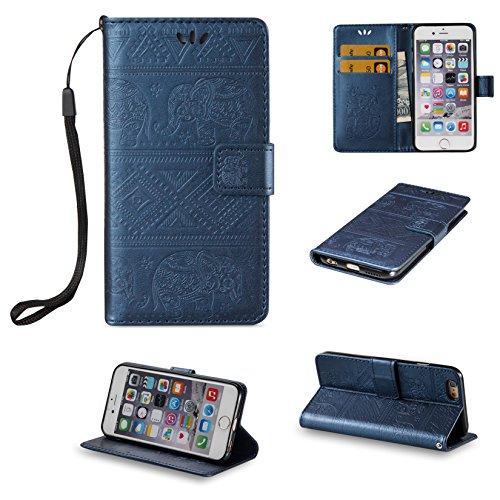 Hülle für iPhone 6 6S (4.7 zoll), Owbb Elefants Muster Handyhülle PU Ledertasche Flip Cover Wallet Case mit Stand Function Innenschlitzen Design Rose Gold(Ein freier Stylus als Geschenk) Dunkelblau