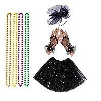 Rpanda 80s Tutu Skirt Black Lace Headband Gloves Neon Necklace for Hen Fancy Dress Party Costumes Set (Black