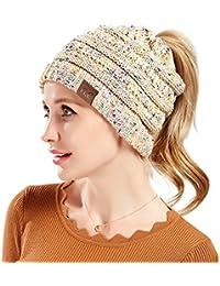 Tacobear Mujer Sombreros de Invierno Cola de Caballo Gorro Gorro de Punto y  el Agujero Mujer Gorros con Coleta Knit… e1bfb932c81