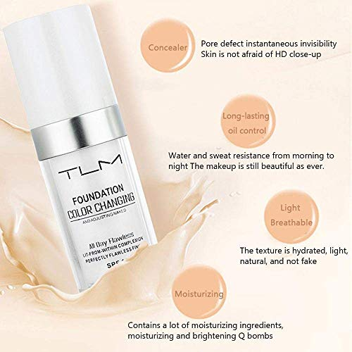 TLM Foundation Color Changing,  Cubierta del Corrector Make Up Cream Colour Correcting Cream, Resistente al Agua, Duradero,  Creativo para Mujeres niñas