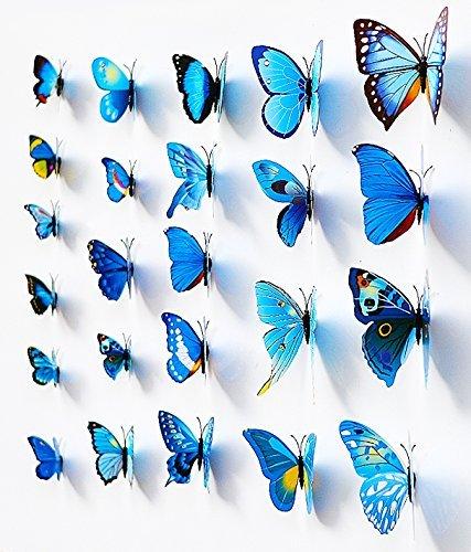 NO:1 12 Stück Mode 3D Schmetterling Magnetisch Wandsticker Wandaufkleber DIY Wandverzierung Wanddeko - Blau