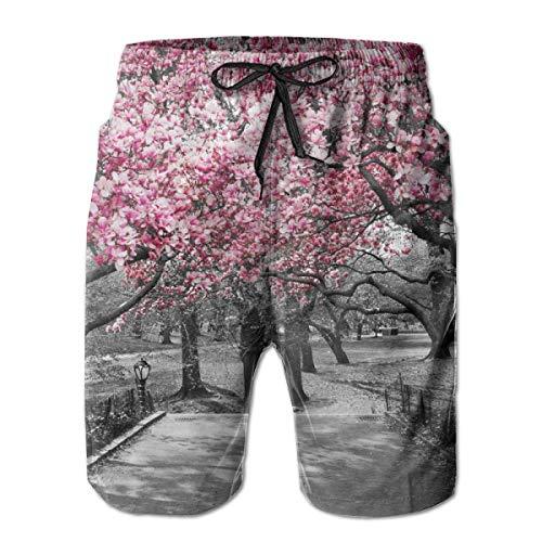 bbelieve Japanese Pink Cherry Blossom Trees Art Herren Big & Tall Badehose Boardshorts Basic Beachwear mit Taschen M -