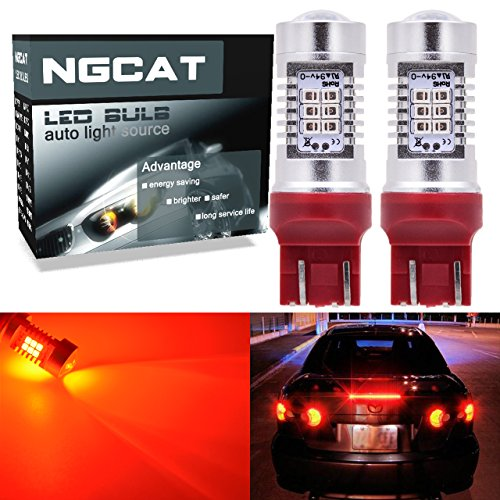ngcat Auto-LED Leuchtmittel 27444NA 74407440verchromt NA Halogenlampe 992T20283521SMD Chipsätze LED Leuchtmittel mit Objektiv Projektor Bremse Drehen Signal Schwanz Backup Reverse Lichter, rot 10–16V 10,5W