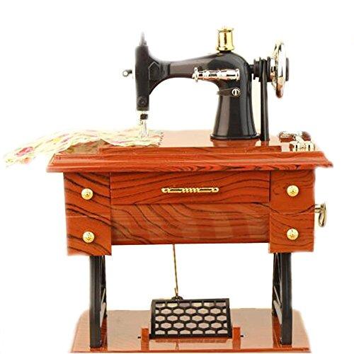 EULAGPRE 1x Máquina de Coser Retro Caja de Música Coleccionistas Ornamento Treadle Regalo Exquisito