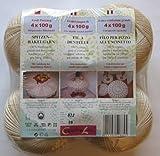 Häkelgarn 400 Gramm ecru + natur Baumwolle-Filet-Garn