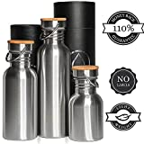 Edelstahl Trinkflasche Isoliert und Normal / Wasserflasche1L (1000 ml), 0,75L (750 ml), 0,5L (500 ml) 0,35L (350 ml) - 110% Lebensdauer GARANTIE, Ohne Logos, Kein Plastik, BPA Frei mit Bambus Holz Kappe
