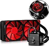 DEEPCOOL Captain 240EX Refrigeración Líquida CPU Silencioso AIO de Alto Rendimiento con Bomba LED Rojo, 2(120mm) PWM Ventiladores Silenciosos(AM4 Compatible, Adaptador Incluido), Garantía de 3 Años