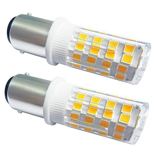 Akaiyal Ba15d led Lampe 4W 220V 2835 SMD SBC Bajonett Doppelkontakt Leuchtmittel kaltweiß 6000K für Nähmaschine Lampe Appliance Beleuchtung (2-Stück, Nicht Dimmbar) (Appliance Lampe Glühlampe)