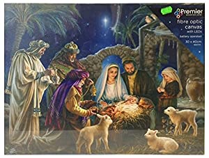 Nativity Scene Canvas with Light