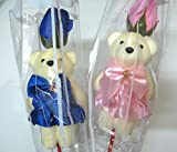 #7: Art box 2 SOFT TEDDY with FLOWERS sticks for New Year and for VALENTINE GIFT ( 2 counts)