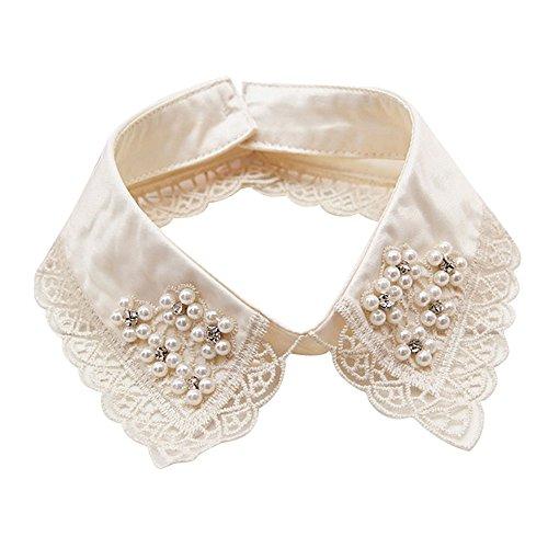 Sunnywill Frauen Mädchen Gefälschte falsche Kragen Abnehmbare Revers Shirt Peter Pan Choker Halskette (G) (Mädchen Peter-pan-kragen-bluse)