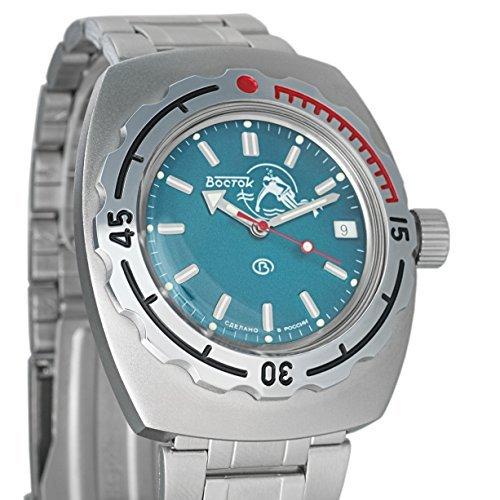 Wostok Amphibian Scuba Dude blau Russland Armbanduhr WR 200m 1967Design Knöterich Diver # 090059