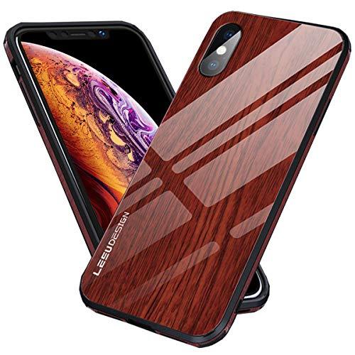 iPhone XS Max Schutzhülle aus Holz für Frauen und Herren, 9H, gehärtetes Glas, Holzmaserung, schlankes Cover mit Loch für Trageband für iPhone 10S Max, iPhone XS Max, rot