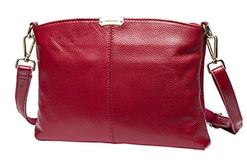 SAIERLONG Nuovo Donna Blu scuro Vera Pelle Borse Crossbody Sacchetti di spalla Rosso