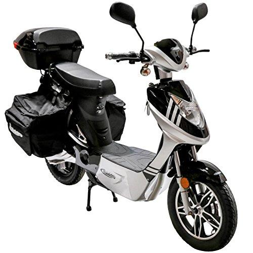 Rolektro eco-City 20 V.2 Plus Schwarz-Silber Elektroroller 20 Km/H Straßenverkehrszulassung 500W Keine Helmpflicht