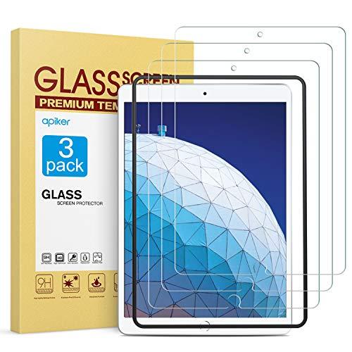 Apiker [3 Stück] Schutzfolie für iPad Pro 10.5 / iPad Air 3 / iPad Air 10.5, iPad Pro 10.5 / iPad Air 3 Panzerglasfolie, 9H Härte, Bläschenfrei, 2.5D abger&et Kante, mühelosanzubringen