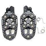 RISHIL WORLD Motorcylce Bike Foot Pegs Pedals Treadles Footrest Foot Peg Universal Aluminum Alloy Sliver Black Single Item.
