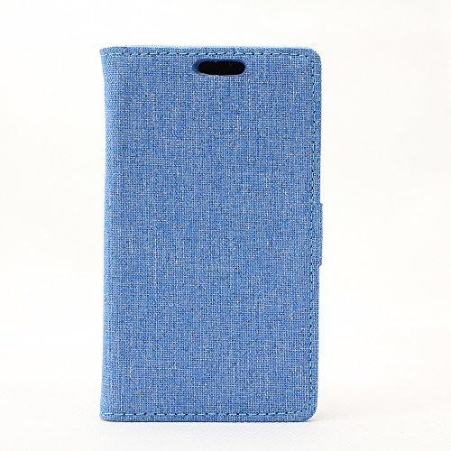 LG L50 Hülle,LG L50 Tasche,LG L50 Schutzhülle,LG L50 Hülle Case,LG L50 Leder Cover,Cozy hut [Burlap - Muster-Mappen-Kasten] echten Premium Leinwand Flip Folio Denim Abdeckungs-Fall, Slim Case mit Ständer Funktion und Identifikation-Kreditkarte Slots für LG L50 (4,0 Zoll) - blau