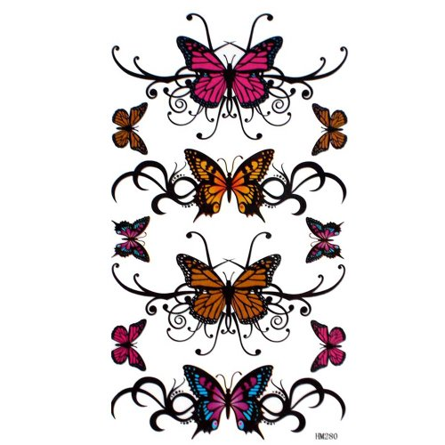 GGSELL King Horse Tattoo-Aufkleber wasserdicht sexy Schmetterling gemalt