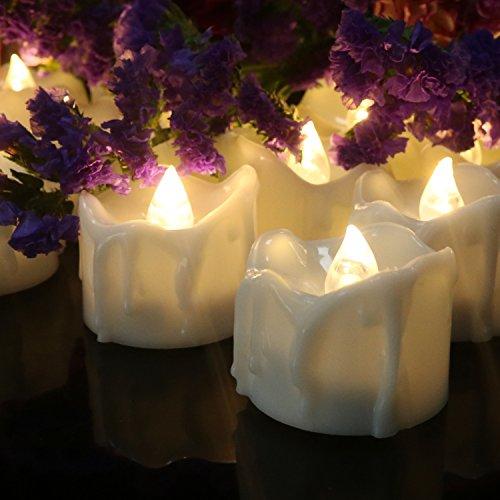 flimmer Warmweiß bernstein batteriebetriebene kerzen flammenlose kerzen led teelichter für hochzeit weihnachten halloween party dekoration (Alle White Party Dekorationen)