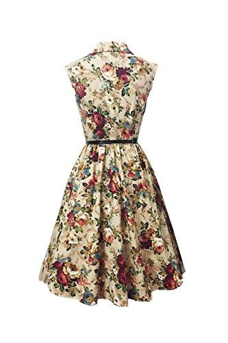 Breasted simple sans manches Vintage Swing robe des femmes avec ceinture gray