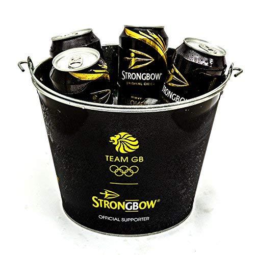 Strongbow Eiseimer aus Metall, schwarz, für Partys, Getränke, Kühler, Zuhause, Bar, Kneipe, Kapazität: 5 Dosen