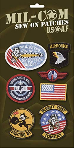 Pack of Airforce Sew on Cloth Badges Military Patches on Card by Top G