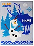 Unbekannt Teppich -  Disney die Eiskönigin - Frozen  - Kinderteppich / Bettvorleger - incl. Name - 95 cm * 135 cm - Olaf & Sven - Rutschfest , da unten gummiert - für..