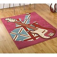 Moderno retro Girls Rock Union Jack chitarra tappeto/tappetino, rosa/Multi–80x 150cm