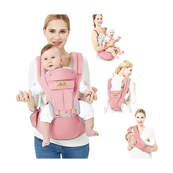 Viedouce Baby Carrier Ergonomic for Newborn,Pure Cotton Front Back Child Carrier with Detachable Hood Multi-Position Soft Backpack Carrier,Complete Safety Protection(0-48 Months) (Pink) Viedouce 【More environmentally friendly】-Baby carrier has high quality pure cotton fabric with 3D breathable mesh take care of your health and the health of your baby; The detachable sun visor and wind cap provide warmth in the winter and freshness in the summer. At the same time, the zipper buckle is designed for easy disassembly and cleaning. 【More ergonomic】 -Baby carrier for newborn has an enlarged arc stool to better support the baby's thighs, the M design that allows the knees to be higher than the buttocks when your baby sits, is more ergonomic. 【Comfort and safety】 - The area near the abdomen is filled with a soft and thick sponge, reduces the pressure on the abdomen and gives more comfort to you and your baby. High quality professional safety buckles and attach, shock absorbing pads, are equipped to protect your baby. 1