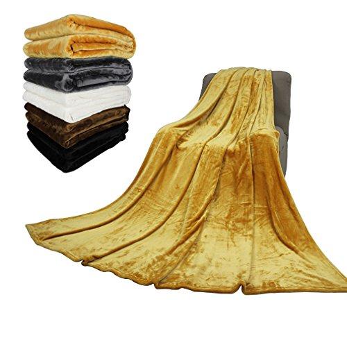 AuraLum® 210 x 230cm Hochwertige Microfaser Kuscheldecke Tagesdecke Wohndecke Sofaüberwurf Fleecedecke aus 100% Polyester - Gelb