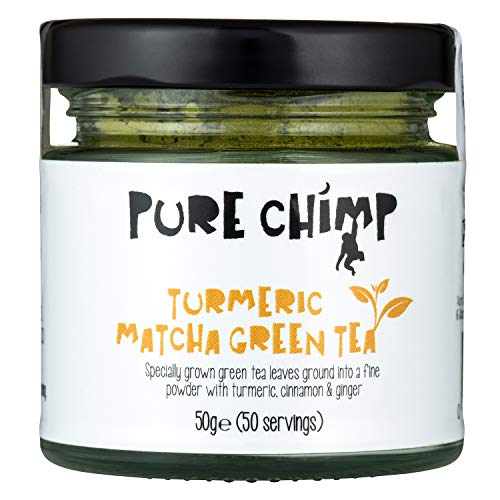 Turmeric Matcha Green Tea 50g Jar by PureChimp | for Matcha Lattes | Pesticide-Free | Recyclable Glass Jar & Aluminium Lid