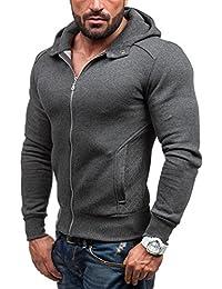 BOLF – Sweat-shirt à capuche - Pull de sport – Fermeture éclair - J.STYLE Y28 - Homme