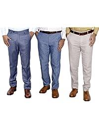 IndiWeaves Combo Offer Mens Formal Trouser (Pack Of 3) - B01JRQM3IO