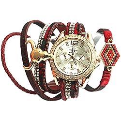 Michael John Damen-Armbanduhr Armband Doppel Rot Mylta