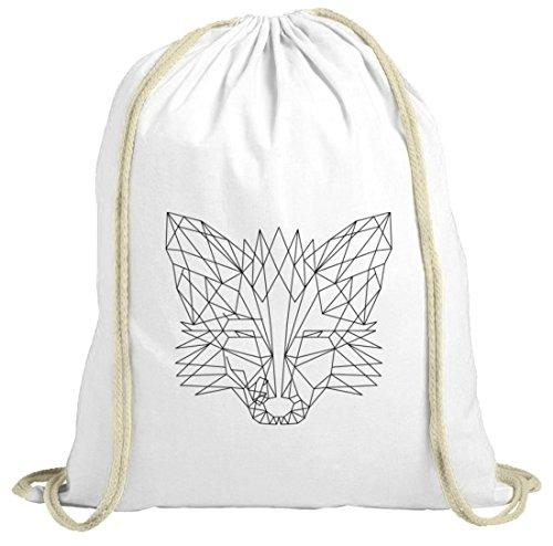 Fox natur Turnbeutel mit Polygon Fuchs Motiv von ShirtStreet weiß natur
