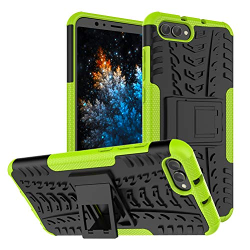 MRSTER Honor View 20 Hülle, Outdoor Hard Cover Heavy Duty Dual Layer Armor Case Stoßfest Schutzhülle mit Ständer Handyhülle für Huawei Honor View 20 / Honor V20. Hyun Green Dual-view-case