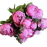 KAIMENG Künstliche Blumen Gefälschte Pfingstrose Blumen Bouquet Glorious Hochzeit Home Braut Dekoration (Rose Red)