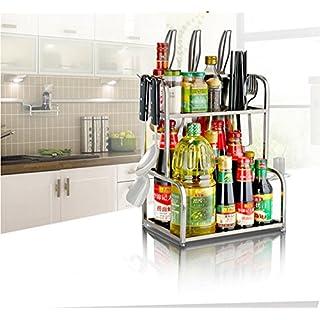 AEVEL Küche Edelstahl Rack 2Etagen Regal mit Haken Aufbewahrung Supplies Spice/Kräuter Rack, Küche Schrank Aufbewahrung Völlig rostfrei